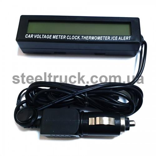 Вольтметр - градусник - часы 12-24 V (в прикуриватель), AG97A, 001-0102