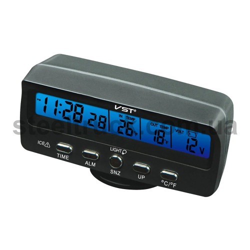 Вольтметр - градусник - часы 12-24 V (в прикуриватель), VST-7045V, 001-0119