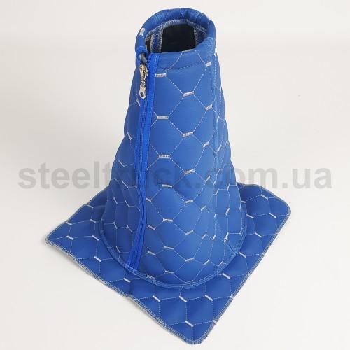 Чехол КПП эко-кожа DAF, Volvo синий, 125-0128