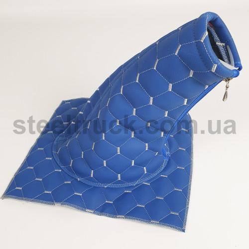 Чехол КПП эко-кожа MAN, Renault синий, 125-0131
