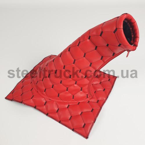 Чехол КПП эко-кожа MAN, Renault красный, 125-0132