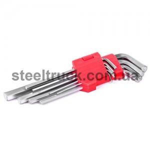 Набор Г-образных шестигранных ключей удлиненный  9 шт. 1,5-10 мм, НТ-0602, 025-0109