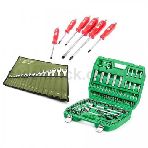 Набор инструментов 108 единиц + отвертки + набор ключей 17 шт., 999-0050