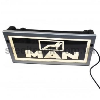 Табличка диодная MAN (подсветка надписи, подсветка сзади, 2 слота зарядки, 3-16 V