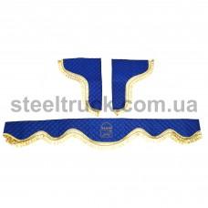 Шторки комплект MAN ЭКО-кожа, синий (стеганый), 077-0020