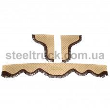Шторки комплект DAF ЭКО-кожа, бежевый (стеганый) , 077-0026