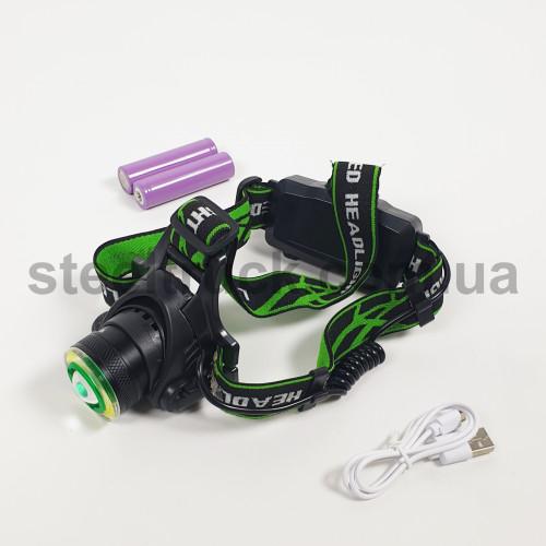 Фонарик налобный (2 аккумулятора + зарядный кабель) , WD107, 004-0188