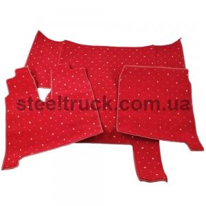 Коврик салона мягкий MAN TGA 430 (водитель+пассажир+средина), красный, 4281121619, 009-0492