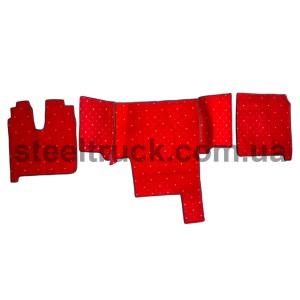Коврик салона мягкий MAN TGA 410 (водитель+пассажир+средина), красный, 4281121618, 009-0494