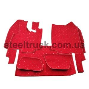 Коврик салона мягкий DAF XF 95 (водитель+пассажир+средина), красный, автоматическая КПП, 4281121624, 009-0511