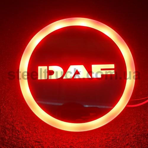 Фонарик эмблема DAF красный неоновый 24V, Ø-95мм, L0344RD, 075-0032