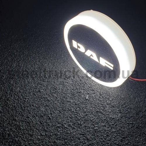 Фонарик эмблема DAF белый неоновый 24V, Ø-95мм, L0344WD, 075-0033