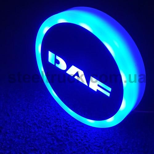 Фонарик эмблема DAF синий неоновый 24V, Ø-95мм , L0344BD, 075-0034