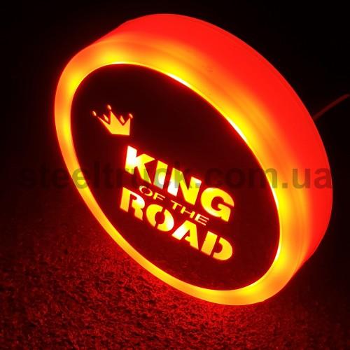 Фонарик эмблема KING OF THE ROAD красный неоновый 24V, Ø-95мм , L0344RK, 075-0036