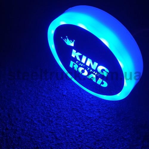 Фонарик эмблема KING OF THE ROAD синий неоновый 24V, Ø-95мм , L0344BK, 075-0037
