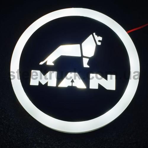 Фонарик эмблема MAN белый неоновый 24V, Ø-95мм