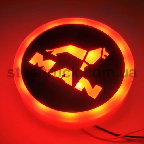 Фонарик эмблема MAN красный неоновый 24V, Ø-95мм  , L0344RM, 075-0039