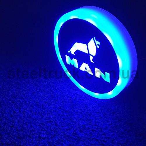 Фонарик эмблема MAN синий неоновый 24V, Ø-95мм  , L0344BM, 075-0040