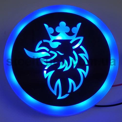Фонарик эмблема SCANIA синий неоновый 24V, Ø-95мм