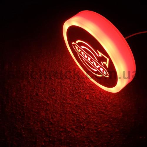Фонарик эмблема VOLVO красный неоновый 24V, Ø-95мм