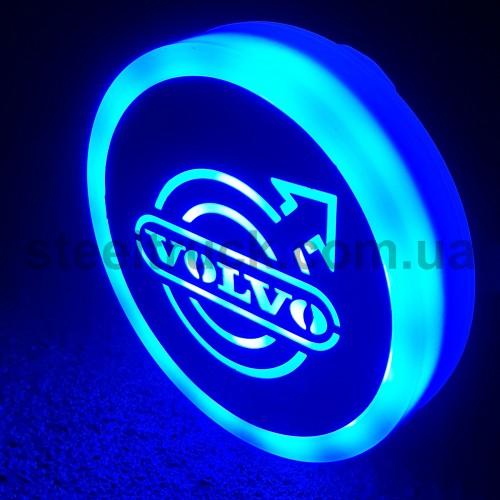 Фонарик эмблема VOLVO синий неоновый 24V, Ø-95мм