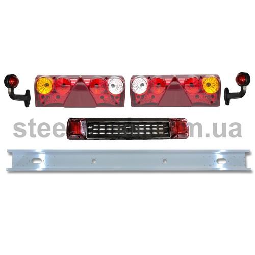 Задний бампер прицепа (2 мм) с комплектом задних фонарей EUROSTOP, выносными габаритами и фонарями подсветки номерного знака, 999-0043