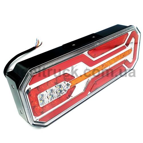 Фонарь задний 350х131х60 мм бегущий указатель поворота, кабель, правый с подсветкой номера (FERZE)