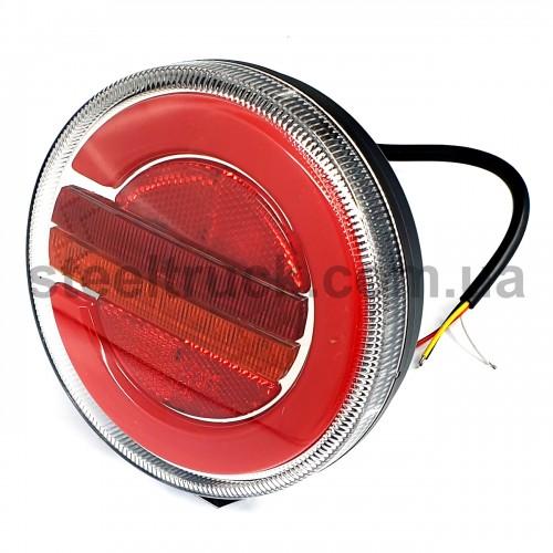 Фонарь задний комбинированный, 10-30V 140х38 мм, круглый, LED, левый (FERZE)