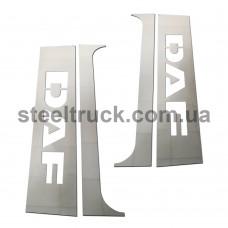 Накладка на кабину спальник- дверь DAF прямая (нержавеющая сталь), 081-0009