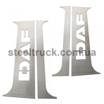 Накладка на кабину спальник- дверь DAF косая (нержавеющая сталь), 081-0010