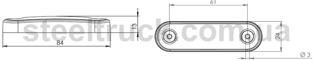Габаритный фонарь светодиодный, белый - чертеж с размерами
