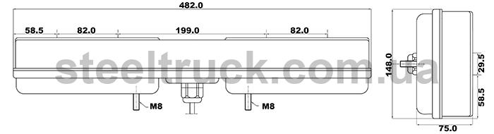Фонарь задний универсальный грузовой, лампочка - светодиод