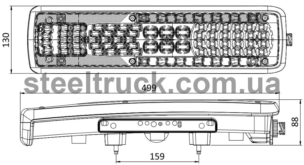Чертеж и размеры заднего фонаря грузовика Вольво