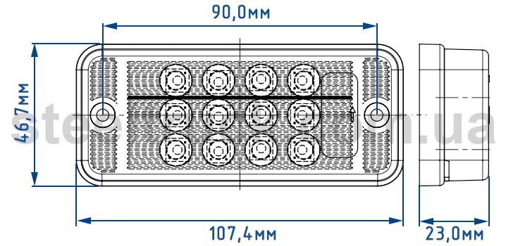Размеры заднего фонаря универсального фонаря, заднего
